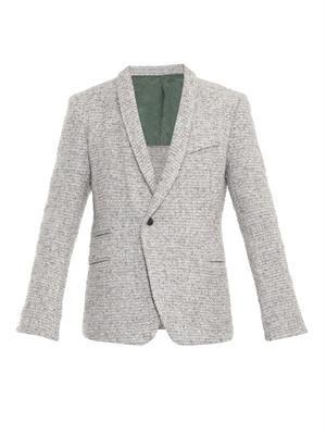 Fleece wool-blend blazer