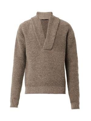 Shawl-neck knit sweater