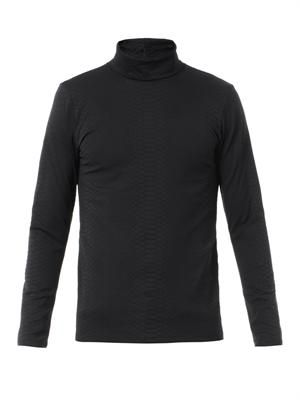Embossed roll-neck sweater
