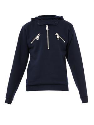 Chunky-zip hooded sweater