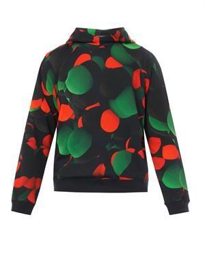 Atom-print hooded cotton sweatshirt
