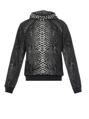 Snake-print cotton hooded sweatshirt