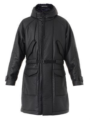 Techno-fabric padded parka coat