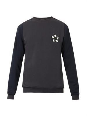 Contrast-sleeve jersey sweatshirt