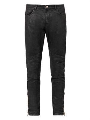 Coated-denim biker jeans