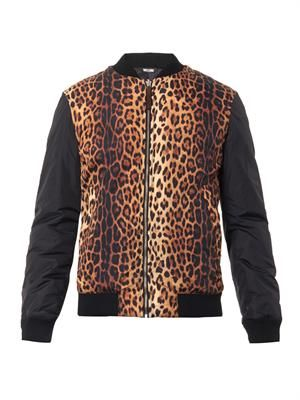 Animal-print bomber jacket