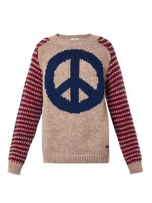Peace-intarsia wool-blend sweater