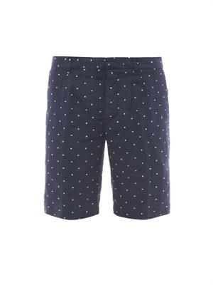 Polka-dot linen shorts
