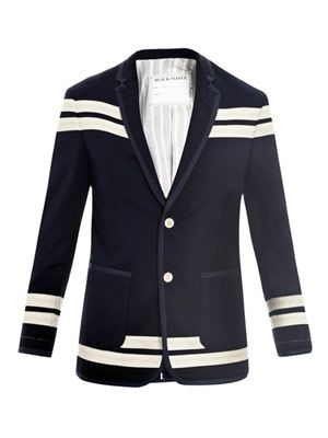 Stripe detail cotton pique jacket