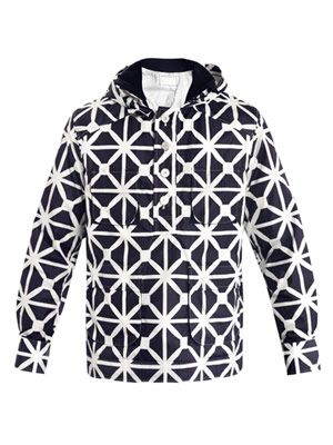 Octagon-print hooded wind cheater