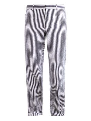 Seersucker stripe trousers