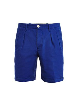 Pleated front cotton shorts