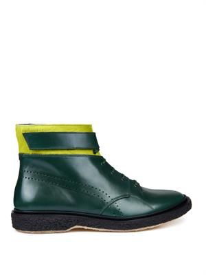 Type 23 leather and calf-hair boots