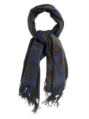 Checked wool and angora-blend scarf