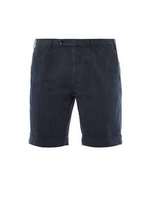 Linen and cotton-blend shorts