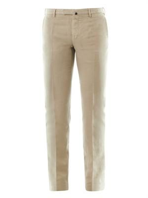 Lightweight linen cotton-blend chinos