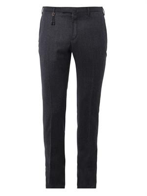 Slim-leg diamond-weave trousers
