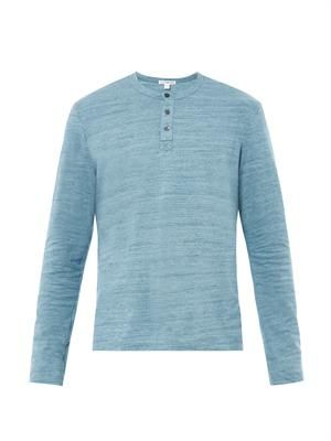 Long-sleeved henley T-shirt