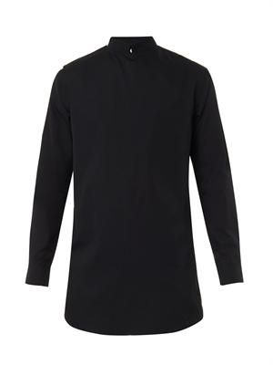 Wrap-front point-collar shirt