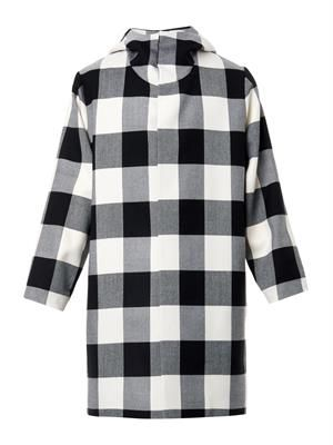 Monochrome checked wool parka