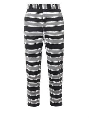 Reflective-stripe cotton trousers