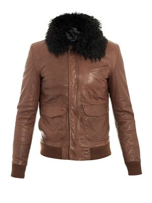 Mongolian-fur trimmed leather jacket