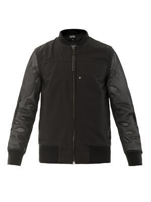 Mesh sleeve bomber jacket