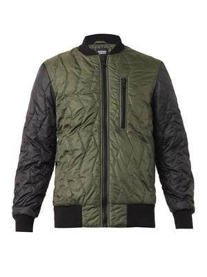 Bi-colour quilted bomber jacket