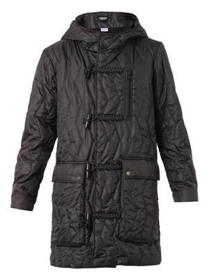 Quilted hooded duffle coat
