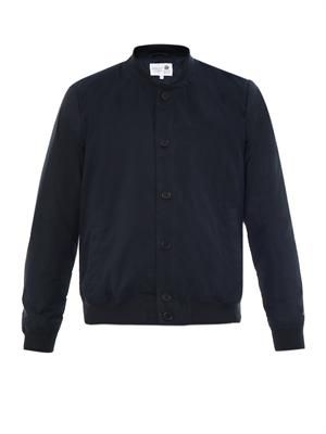 Contrast-sleeve cotton bomber jacket