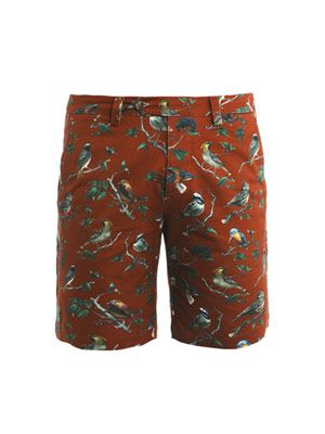 Bird-print Bermuda shorts