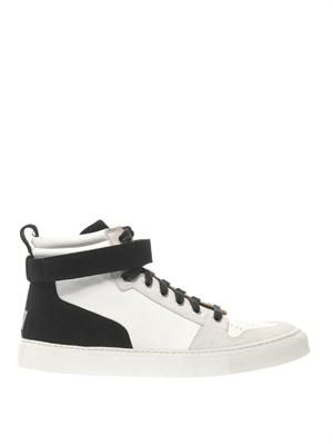 Suede and leather high-top trainers