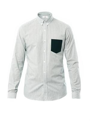 Pocket detail stripe shirt