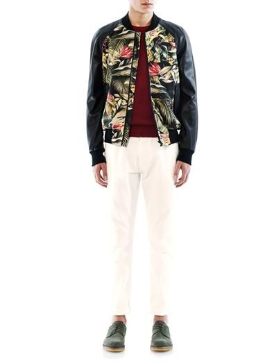 Ami Floral-print and leather bomber jacket