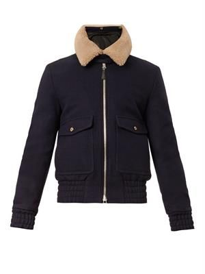 Shearling-collar bomber jacket