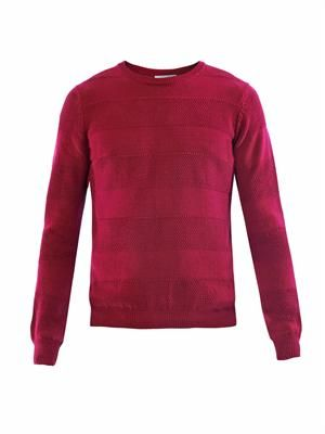 Contrast-weave panel knit sweater