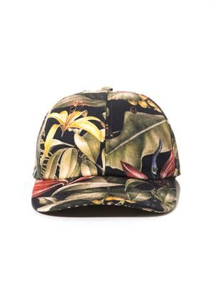 Floral canvas baseball hat