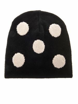 Oversized polka-dot wool beanie