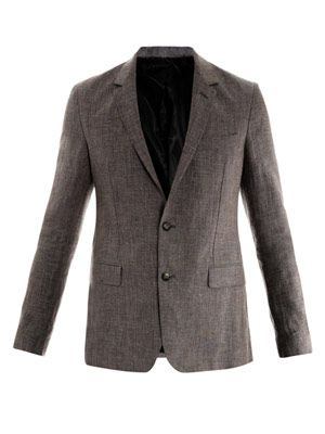 Dogtooth-check linen jacket