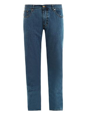 Cotton-linen five pocket jeans