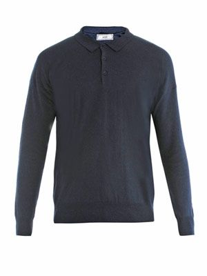 Fine knit polo-neck sweater