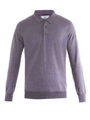 Fine knit polo-neck top