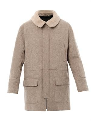 Shearling collar parka