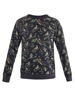 Bird-print sweat top
