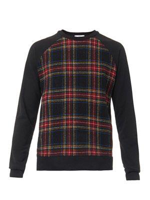 Checked-front sweatshirt