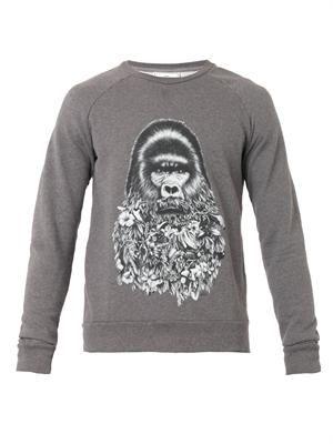 Floral-bearded gorilla-print sweatshirt