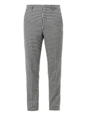 Hound's-tooth wool tailored trousers