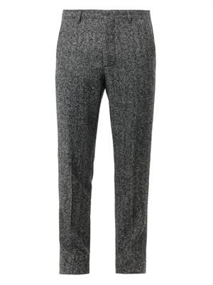 Herringbone wool-blend trousers