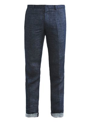Linen classic fit trousers