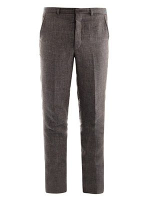 Dogtooth check linen trousers